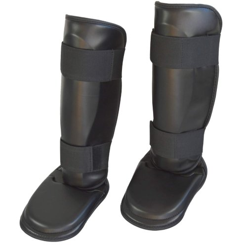 Shinpad with removable instep pad, Phoenix, PU, black, S size