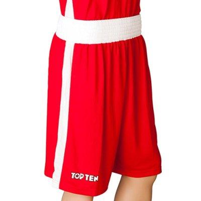 Boxing trunks, TOP TEN, AIBA, red/white