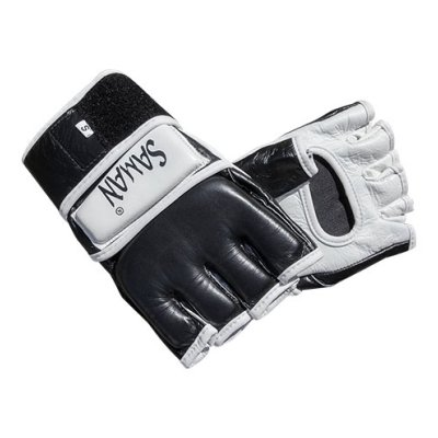 MMA gloves, Saman, leather, black/white