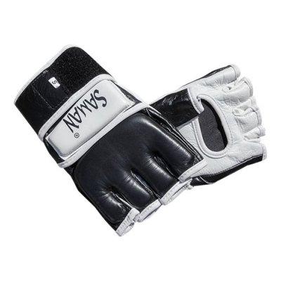 MMA gloves, Saman, leather, black/white