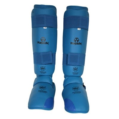 Lábfejes lábszárvédő, Hayashi, WKF, kék