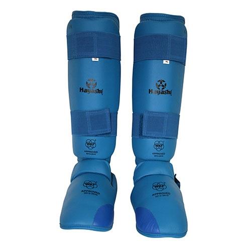 Lábfejes lábszárvédő, Hayashi, WKF, Kék szín, XL méret