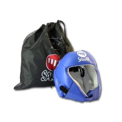 Headguard, Saman, Contest, without face protector, leather, blue