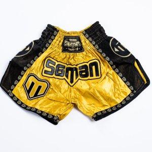 Thai-Box nadrág, Saman, Colours 1985, polyester, arany/fekete, XL méret
