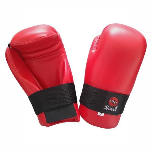 Semi-contact gloves, Saman, red, artificial leather, XXS méret