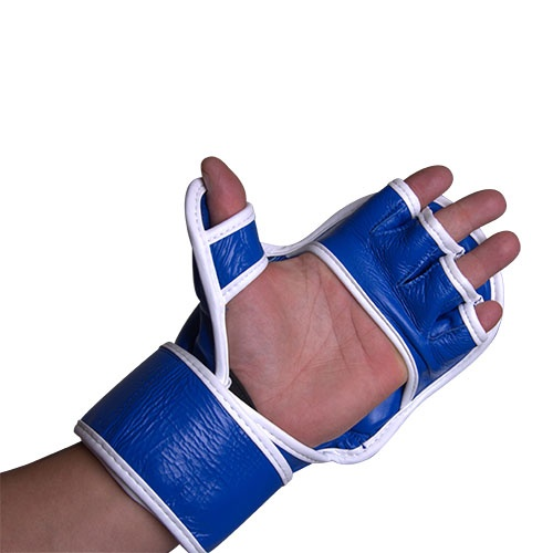 MMA gloves, Saman, Sparring, leather, blue/white