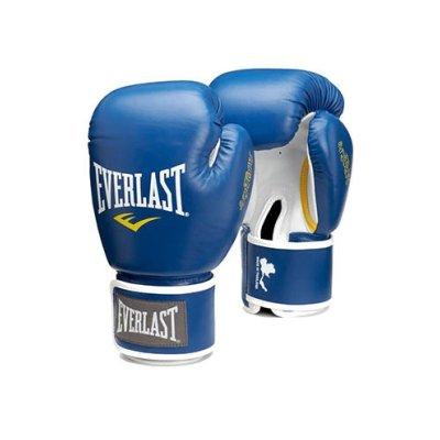 Muay Thai kesztyű, Everlast, bőr, kék
