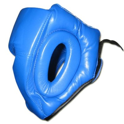 Head guard, Saman, Sparring II, with face protection, leather, blue