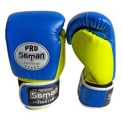 Boxkesztyű, Saman, Breeze, műbőr, kék/sárga, 10 oz