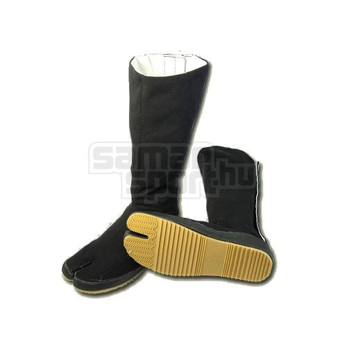 Tabi, outdoor, canvas, with rubber sole, black