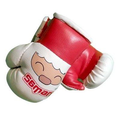 Dísz boxkesztyű, Saman, felakasztós, párban, piros/fehér, mikulás