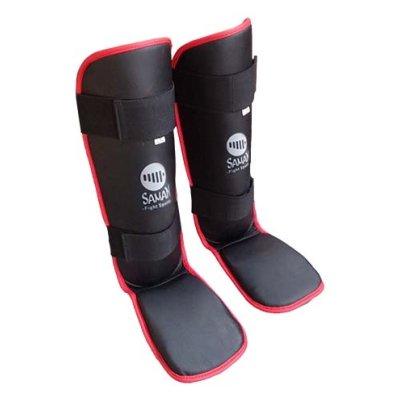 Shin and instep pad, Saman Eco, artificial leather, black
