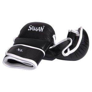 MMA kesztyű, Saman, Sparring, bőr, fekete/fehér