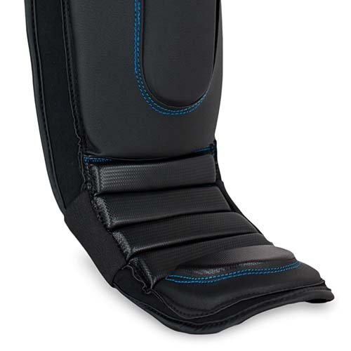 MMA Lábszárvédő, Pro Series 3.0, Bad Boy, lábfejes, műbőr, fekete/kék