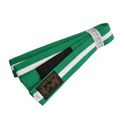 BJJ Belt, for Children, green / white stripe