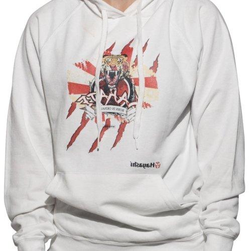 Kapucnis pulóver, Hayashi, Tiger, unisex, fehér