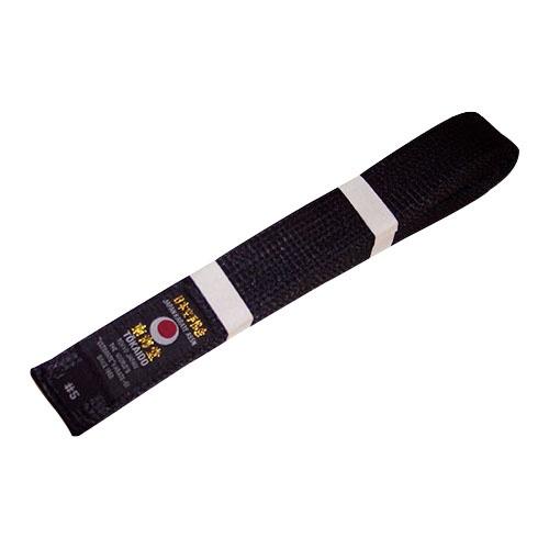 Karate öv, Tokaido, műselyem, fekete, Japán design, 335 (7) méret
