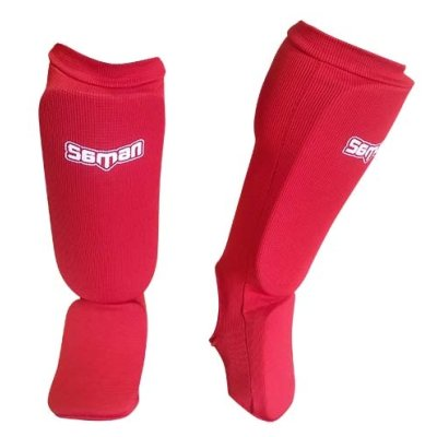 Shin and instep pad, Saman, elastic, red