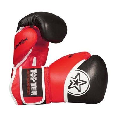 """Boxing gloves, Thai, Top Ten, """"King Style"""", leather/PU, black/red"""