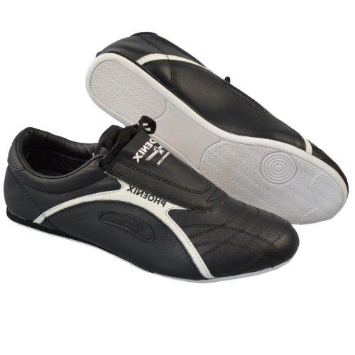 Taekwondo cipő, Phoenix, Professional Line, bőr, fekete-fehér, 46 méret