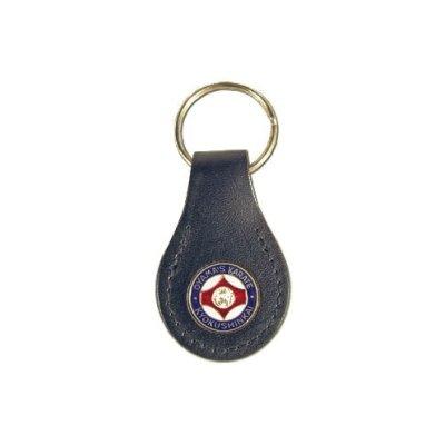 Kulcstartó, KYO, bőr+fém, kis kanku