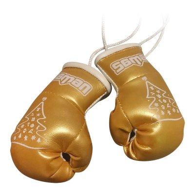 Mini Boxing Gloves, Saman, Hang-up, pair, golden, x-mas tree