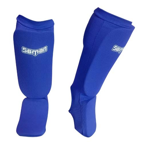 Shin and instep pad, Saman, elastic, blue