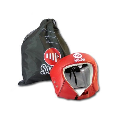 Headguard, Saman, Contest, without face protector, leather, red