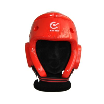 Head guard, Wacoku, WTF, dipped foam, red