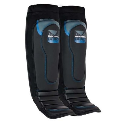 Bad Boy Pro Series 3.0 MMA Shin Guards, engineered leather, black/blue
