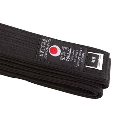 Karate belt, Tokaido, cotton, black, Japan design