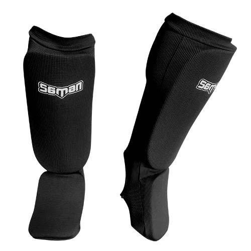Lábfejes lábszárvédő, Saman, elasztikus, szivacs betéttel, fekete