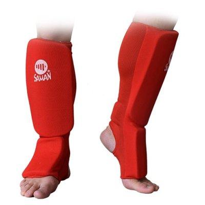 Lábszárvédő, Saman, lábfejes, pamut, szivacs betéttel, piros