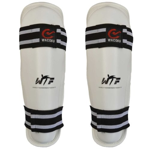 Shin guard, Wacoku, WTF, synthetic leather, white, S size