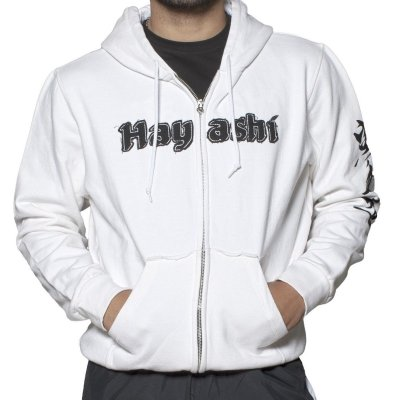 Hoodie, Hayashi, Karate-Do, with zip, white