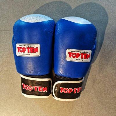 Boxkesztyű, Top Ten, bőr, kék-fehér, 10 oz