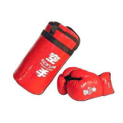 Boxzsák készlet, gyermekeknek, boxkesztyűvel, PU, Kensho