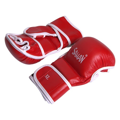 MMA gloves, Saman, Sparring, leather, red/white