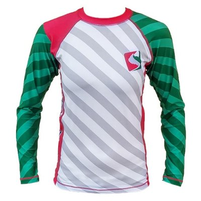 MMA Rashguard, Saman, red/white/green, long sleeves