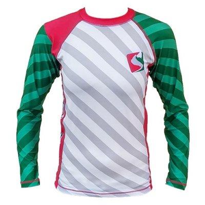 MMA Rashguard, Saman, red/white/green, long sleeves