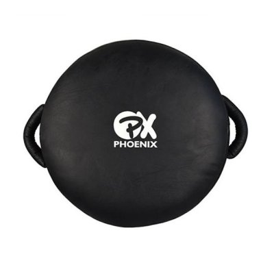 Round Coaching Punch Shield, Leather, 40 cm, black