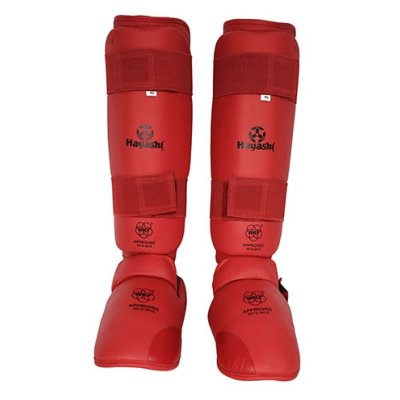 Lábfejes lábszárvédő, Hayashi, WKF, piros