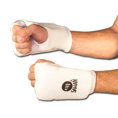 Karate mitt, Saman, cotton, padded, white